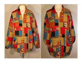 Women's Vintage Coat, floral jacket, patchwork coat, zipper coat, women's jacket, ladies coat, colorful jacket, ethnic coat, bohemian coat