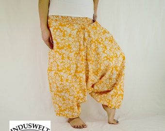 Harem Pants Orange with Flowers