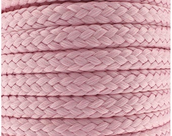Cotton braided cord / ROSE / width 7mm, 50cm cut