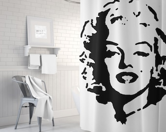 Marilyn Monroe Shower Curtain, Black and White Bath Curtain, Retro, Vintage Shower Curtain, Bathroom Decor, Standard or Extra Long