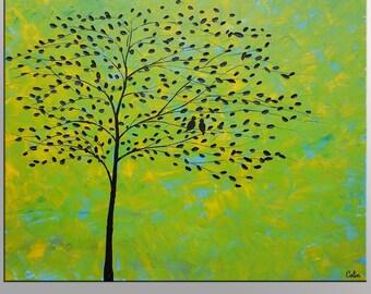 Love Birds Painting, Canvas Art, Large Art Painting, Large Painting, Oil Painting, Abstract Wall Art, Acylic Painting, Original Artwork