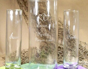 "Personalized Unity Sand Ceremony  Set ""Cylinder"" style"