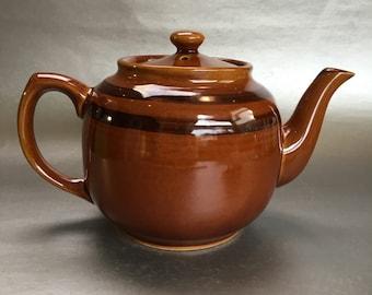 Medium 5 Cup Classic Vintage Striped Brown Betty Sadler Teapot Chip on Rim