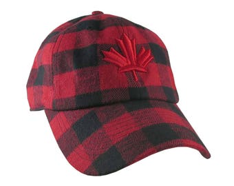 Canadian Red Maple Leaf 3D Puff Embroidery on Red + Black Buffalo Check Plaid Soft Structured Fashion Baseball Cap Dad Hat Style Lumberjack