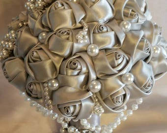Pearls and silver Satin Roses Bouquet
