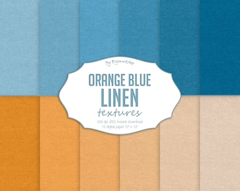 """Linen Digital Paper: """"Orange and Blue Linen"""" with digital linen paper, fabric textures, linen backgrounds in orange and blue colors"""