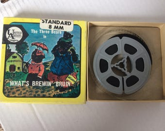 "Vintage Cartoon 8 mm Film - ""What's Brewin' Bruin?"" - 1947 film, 1967 print, B&W, silent - 3 inch reel in original box - United Artists 5542"