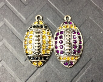 New Orleans and Baton Rouge Louisiana Crystal Football Charm Duo
