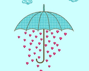 Embroidery design дизайн вышивки, baby on clothing, umbrella зонт, rain дождь, heard сердце, cloud облако, autumn осень, love любовь