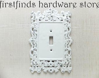 Light Switch Cover Plate Regal Shabby Chic White Black Electrical Painted Cottage Decor Fancy Framed Single Toggle Design DESCRIPTION BELOW