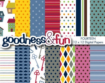 Buy 2, Get 1 FREE - Home Sweet Home Digital Papers - Digital House Paper Pack - Instant Download