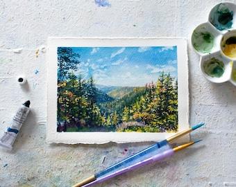Blackwater Falls Overlook Watercolor - Original Watercolor Painting - WV Landscape Watercolor Illustration