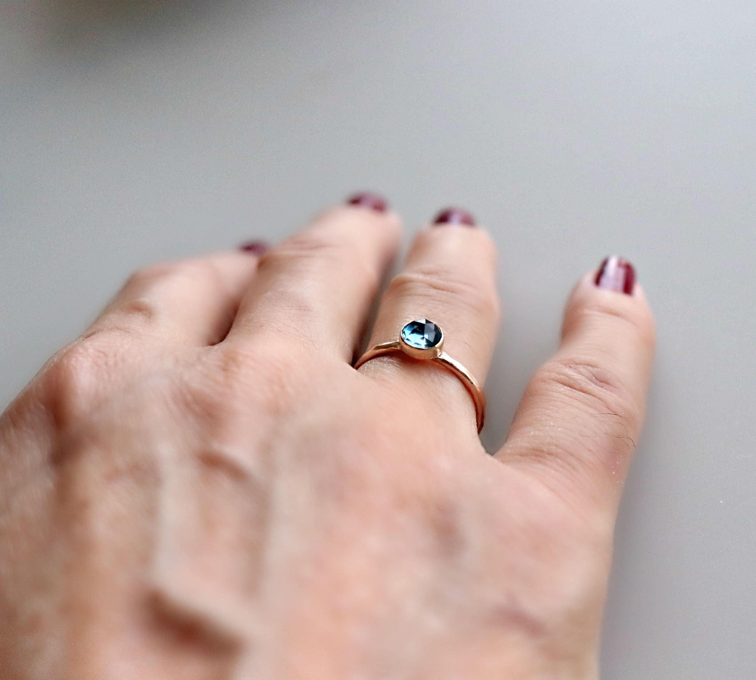 London Blue Topaz Ring 14k Rose Gold Topaz Ring Stackable