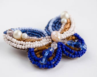 Butterfly brooch  Beaded embroidery brooch  Something blue  Pearls brooch  Bride brooch  Scarf jewelry  Boho style  Lady business suit