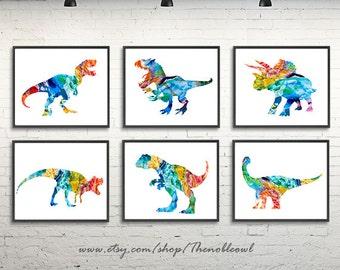 Nursery dinosaur prints, art print set, dinosaur painting, dinosaur art, colorful nursery decor, dino art, dino poster - H155-7/H163-5