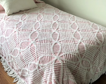 Chenille Full Size Bed Spread - Soft Pink and White - 1950's - Twisted Fringe Border - Lattice and Circle Pattern - Girlhood Memories
