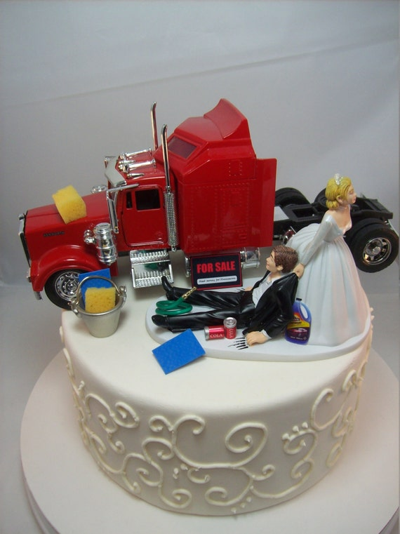 Funny Car Wash KENWORTH Truck Red Vintage Auto Wedding Cake