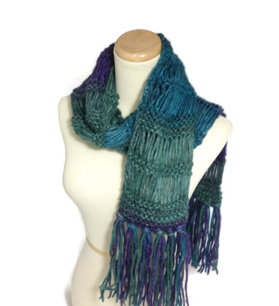 Knit Scarf, Multicolor Scarf, Gift For Her, Hand Knit Scarf, Winter Scarf,  Turquoise Scarf, Women, Fashion Accessory, Fiber Art,