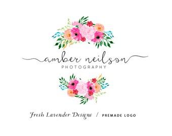 Floral Logo, Premade Logo, Custom Logo, Photography Logo, Florist Logo, Watercolor Logo, Hand Drawn Logo