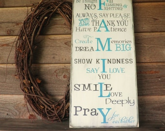 Family rules, house rules, inspirational sign, wall decor, primitive decor, rustic decor, aqua, hand painted sign, wood sign