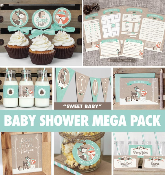 Captivating Winter Woodland Baby Shower Mega Pack // INSTANT DOWNLOAD // Gender Neutral  Fox Baby Shower Games U0026 Decorations // Mint // Printable BS04