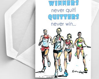 Running Card, Jogging Card, Card for Runners, Motivational Quote Card, Sports Art Card, Original Card, Motivational Quotes, Greeting Card