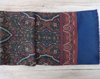 "Vintage Mens paisley silk scarf 134cm x 27cm / 52.7"" x 10.6"""