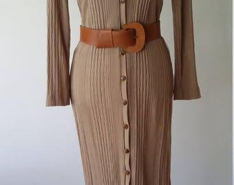 Taupe dress, M, L, knit dress, knit maxi dress, pointelle dress, button front dress, vintage 70s dress, vintage 80s dress, brown dress