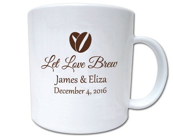100 Wedding Favors Let Love Brew Personalized 11oz Plastic Coffee Mugs and Cocoa Mugs Winter Wedding