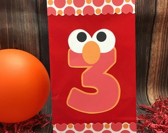 Set of 12 Personalized Elmo Favor Bags