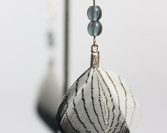 Silver pheasant feather earrings