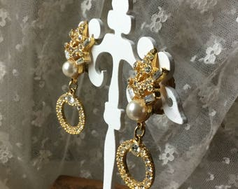 Opulent Clear Rhinestone Faux Pearl Gold Tone Dangling Drop Earrings Unsigned Clip On Evening Wear Top and Drop Hoops Feminine Woman