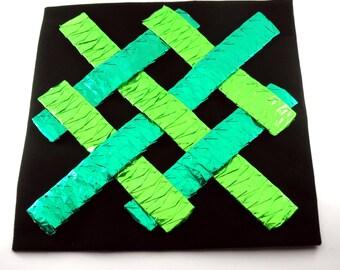 Weave Pattern Art Mix of Greens Origami Crane Art 12x12