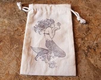 Mermaid hand stamped Muslin cloth gift bag, travel bag, jewelry bag