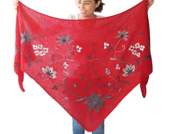 Mohair Wedding Shawl, Bridesmaid Shawl, Hand Knitted Embriodered Shawl, Wedding Shawl, Winter Wedding, Red, Elegant Shawl