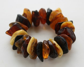 "Baltic Amber Jewelry Raw Chunky Bracelet Multicolor Natural Untreated 7.5"" 82 gram"