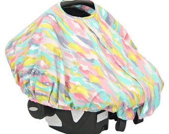 Playful Pastels | Pink and Gold Car Seat Canopy Cover