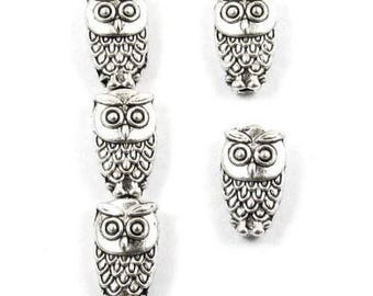Metal Beads - SILVER MINI OWL 6x10mm (25 Pieces)