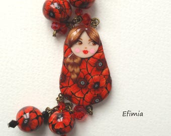 Necklace poppies, pendant, black and Red Russian doll matryoshka