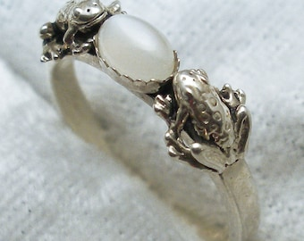 Moonstone Frog Ring, June Birthstone, Hand Crafted Recycled Sterling Silver, Handmade 2 frog band, natural, jewelry Cancer Libra Scorpio