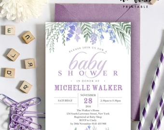 Lavender Baby Shower Invitation | 5x7 | Editable PDF File | Instant Download | Personalize at home with Adobe Reader
