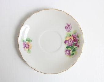 Vintage Ring Dish, Floral Ring Dish, Flower Ring Dish, Pansy Ring Dish, Purple Ring Dish, Jewelry Dish Trinket Dish Ring Dish,Purple & White