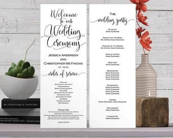 Printable wedding program, Wedding program template, ceremony programs, template, instant   download, editable text, S2