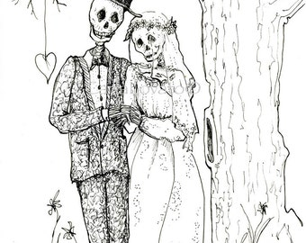 Skeleton Wedding, Skeleton Bride and Groom, digital art, download for invitations, October wedding, Halloween wedding, goth wedding