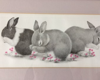 beautiful bunny rabbit art in frame by Virginia Miller