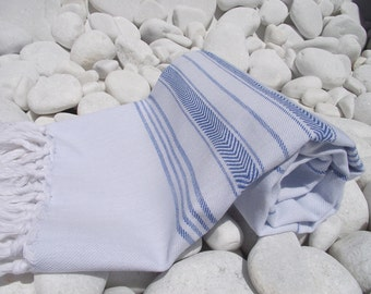 Best Quality Hand Woven Turkish Cotton Soft,Organic Bath,Beach,Spa,Yoga,Travel,Pool Towel or Sarong-Blue Stripes on Pale Blue