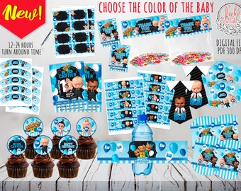 Boss Baby Party Kit digital, party favors, invitation, Birthday Decoration , Party Decor ,  printables, supplies, african american