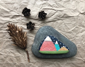 Hand Painted Rock: Mountains at Night, home decor, outdoorsy, camping, wanderlust