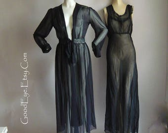 Vintage 30s BIAS Cut Nightgown Robe / 1930s FITWELL Sheer Black Rayon 2pc / Bust 34 38 inch  /Maxi Pin Up Glamour Gown