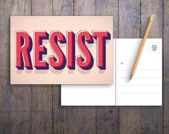 Resist PRINTABLE Protest Postcard   Anti-Trump Political Postcards